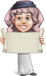 Cute Muslim Kid Cartoon Vector Character AKA Ayman - Sign 2