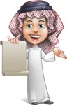Cute Muslim Kid Cartoon Vector Character AKA Ayman - Sign 4