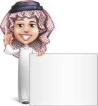 Cute Muslim Kid Cartoon Vector Character AKA Ayman - Sign 6