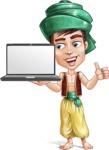 Young Arab Man with Turban Cartoon Vector Character AKA Amir - Laptop 2
