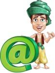 Young Arab Man with Turban Cartoon Vector Character AKA Amir - Web