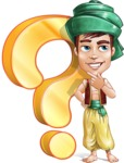 Young Arab Man with Turban Cartoon Vector Character AKA Amir - Question