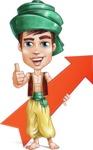 Young Arab Man with Turban Cartoon Vector Character AKA Amir - Arrow 1