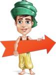 Young Arab Man with Turban Cartoon Vector Character AKA Amir - Arrow 2
