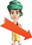 Young Arab Man with Turban Cartoon Vector Character AKA Amir - Arrow 3