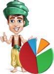 Young Arab Man with Turban Cartoon Vector Character AKA Amir - Chart