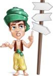 Young Arab Man with Turban Cartoon Vector Character AKA Amir - Crossroad