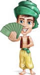 Young Arab Man with Turban Cartoon Vector Character AKA Amir - Show me the money