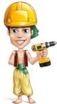 Young Arab Man with Turban Cartoon Vector Character AKA Amir - Under Construction