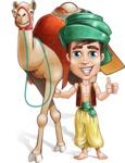 Young Arab Man with Turban Cartoon Vector Character AKA Amir - Camel