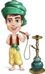 Young Arab Man with Turban Cartoon Vector Character AKA Amir - Hookah 1