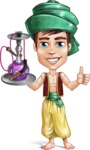 Young Arab Man with Turban Cartoon Vector Character AKA Amir - Hookah 2
