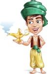 Young Arab Man with Turban Cartoon Vector Character AKA Amir - Lamp