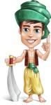 Young Arab Man with Turban Cartoon Vector Character AKA Amir - Sword 2