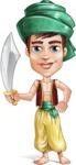 Young Arab Man with Turban Cartoon Vector Character AKA Amir - Sword 3