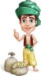 Young Arab Man with Turban Cartoon Vector Character AKA Amir - Treasure