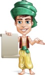 Young Arab Man with Turban Cartoon Vector Character AKA Amir - Sign 4