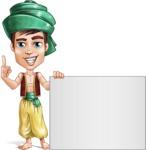 Young Arab Man with Turban Cartoon Vector Character AKA Amir - Sign 6