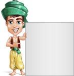 Young Arab Man with Turban Cartoon Vector Character AKA Amir - Sign 7
