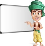 Young Arab Man with Turban Cartoon Vector Character AKA Amir - Presentation 1