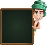 Young Arab Man with Turban Cartoon Vector Character AKA Amir - Presentation 2