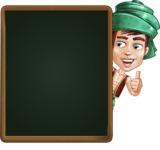 Young Arab Man with Turban Cartoon Vector Character AKA Amir - Presentation 3