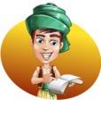 Young Arab Man with Turban Cartoon Vector Character AKA Amir - Shape 3
