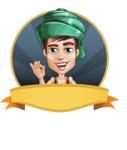 Young Arab Man with Turban Cartoon Vector Character AKA Amir - Shape 4