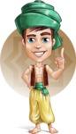 Young Arab Man with Turban Cartoon Vector Character AKA Amir - Shape 5