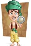 Young Arab Man with Turban Cartoon Vector Character AKA Amir - Shape 7