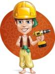 Young Arab Man with Turban Cartoon Vector Character AKA Amir - Shape 8