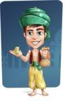 Young Arab Man with Turban Cartoon Vector Character AKA Amir - Shape 9