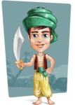 Young Arab Man with Turban Cartoon Vector Character AKA Amir - Shape 10
