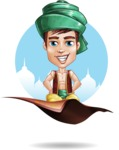 Young Arab Man with Turban Cartoon Vector Character AKA Amir - Shape 11