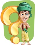 Young Arab Man with Turban Cartoon Vector Character AKA Amir - Shape 12