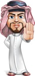 Middle Eastern Man Cartoon Vector Character AKA Faysal the Decisive - Stop