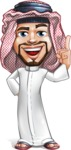 Middle Eastern Man Cartoon Vector Character AKA Faysal the Decisive - Attention
