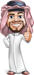 Middle Eastern Man Cartoon Vector Character AKA Faysal the Decisive - Thumbs Up