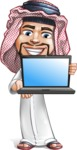 Middle Eastern Man Cartoon Vector Character AKA Faysal the Decisive - Laptop 1