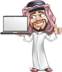 Middle Eastern Man Cartoon Vector Character AKA Faysal the Decisive - Laptop 2