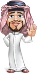 Middle Eastern Man Cartoon Vector Character AKA Faysal the Decisive - Wave