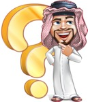 Middle Eastern Man Cartoon Vector Character AKA Faysal the Decisive - Question