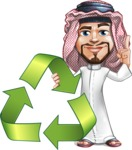 Middle Eastern Man Cartoon Vector Character AKA Faysal the Decisive - Recycling