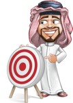 Middle Eastern Man Cartoon Vector Character AKA Faysal the Decisive - Target