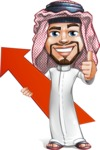 Middle Eastern Man Cartoon Vector Character AKA Faysal the Decisive - Arrow 1