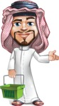 Middle Eastern Man Cartoon Vector Character AKA Faysal the Decisive - Basket