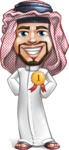 Middle Eastern Man Cartoon Vector Character AKA Faysal the Decisive - Badge