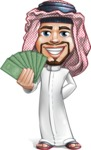 Middle Eastern Man Cartoon Vector Character AKA Faysal the Decisive - Show me the money
