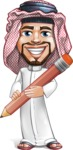 Middle Eastern Man Cartoon Vector Character AKA Faysal the Decisive - Pen
