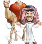 Middle Eastern Man Cartoon Vector Character AKA Faysal the Decisive - Camel